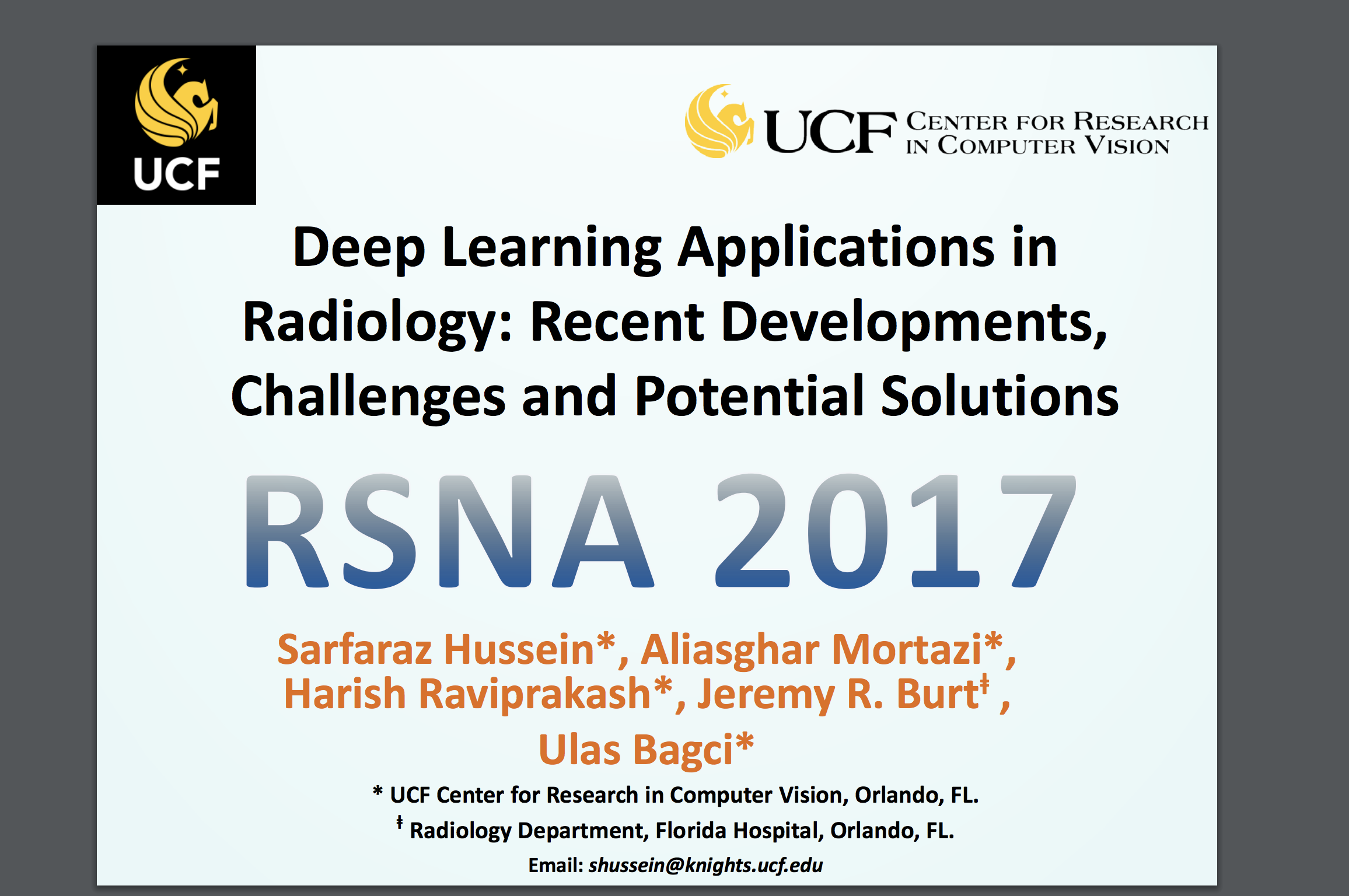 Rsna 2017 Certificate Of Merit Deep Learning In Radiology